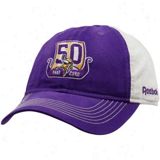 Vikings Merchandise: Reebok Vikings Purple 50th Anniversary Slouch Adjustable Hat