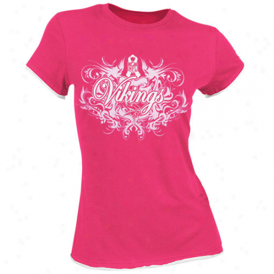 Vikings Shirts : Reebok Vikings Ladies Scallop Breast Cancer Awareness Flourish Tissue Annual rate  Shirts