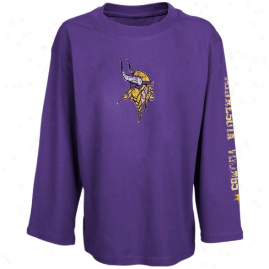 Vikings Shirts : Reebok Vikings Youth Girls Purple Giant Logo Long Sleeve Shirts