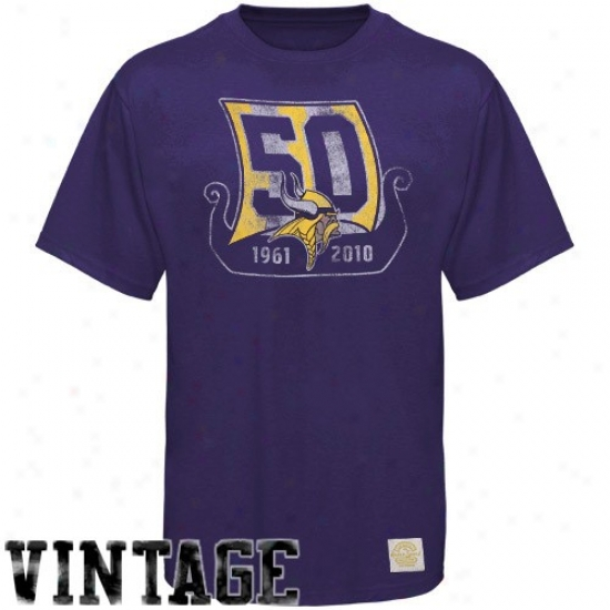 Vikings T Shirt : Reebok Vikings Purple 50th Season Premium T Shirt