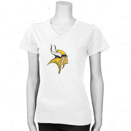 Vikings Tshirt : Reebok Vikings Ladies White Premium Logo Tshirt