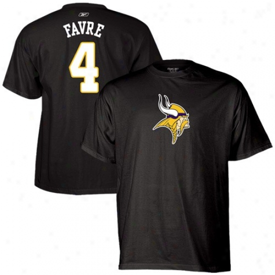 Vikings Tshirts : Reebok Vikings #4 Brett Favre Black Player Tshirts