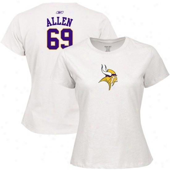 Vikings Tshirts : Reebok Vikings #69 Jared Allen Ladies White Net Player Tshirts