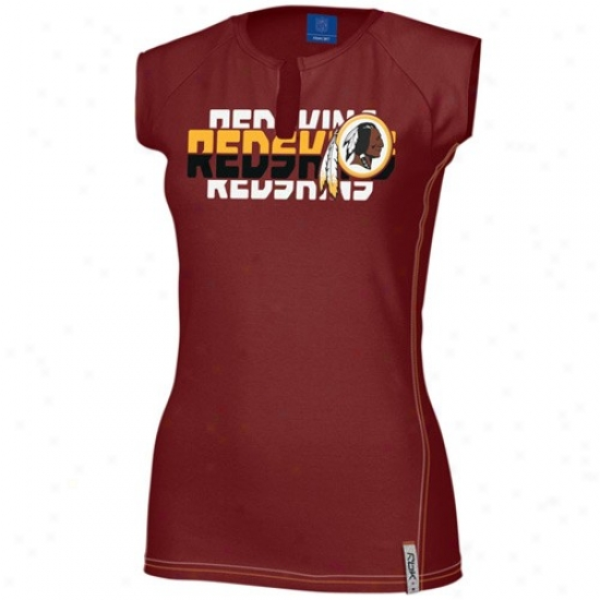 Washington Redskin Attire: Reebok Washington Redskin Ladies BurgundyA stronomy Split Neck T-shirt