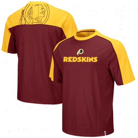Washington Redskin Attire: Reebok Washington Redskin Youth Burgundy-gold Draaft Pick T-shirt