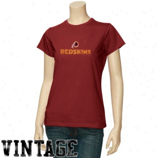 Washington Redskin Attire: Washington Redskin Ladies Burgundy Gutsy Play Vintage T-shirt