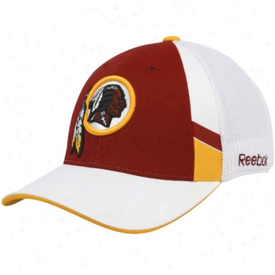 Washington Redskin Cp : Reebok Washington Redskin Burgundy-white Structured Mesh Back Flex Fit Cap
