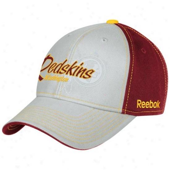 Washington Redskin Caps : Reebok Washington Redskin Youth Gray-burgundy Tonal Flourish Adjustable Caps