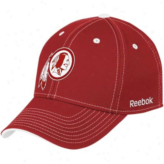 Washington Redskin Gear: Reebok Washington Redskin Burgundy Tonal Team Logo Flex Fit Hat