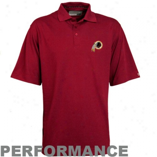 Washington Redskin Golf Shirt : Cutter & Buck Washington Redskin Burgundy Champions Drytec Performance Golf Shirt