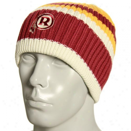 Washington Redskin Cardinal's office : Reebok Washington Redskin Natural Team Color Striped Join Beanie