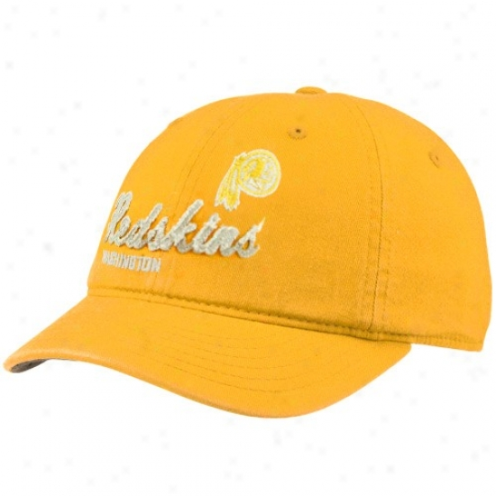 Wshington Redskin Hat : Reebok Washington Redskin Ladies Gold Charlie Slouch Adjustable Hat