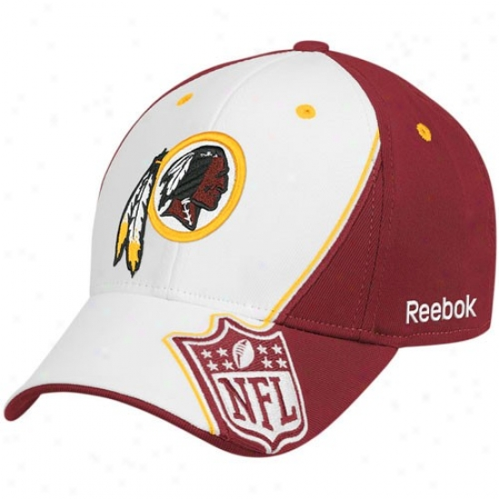 Washington Redskin Hats : Reebok Washington Redskin White-burgundy Shied Structured Flex Fit Hats