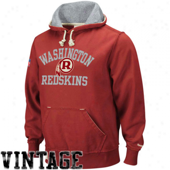 Washington Redskin Hoorys : Reebok Washington Redskin Burgundy Vintage Pullover Hoodys