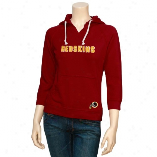 Washungton Redskin Hoodys : Touch By Alyssa Milano Washington Redskin Ladies Burgundy Brushed Washed Hlodys