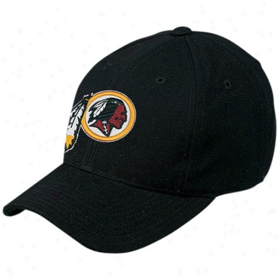 Washing5on Redskin Commodities: Reebok Washington Redskin Black Basic Logo Wool Blend Adjustable Ht