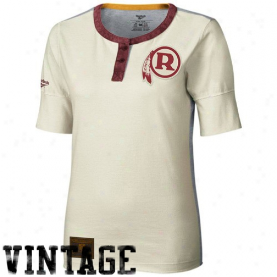 Washington Redskin Shirt : Reebok Washington Redskin Lwdies Cream Construxted 1/2 Sleeve Henley Premium Shirt