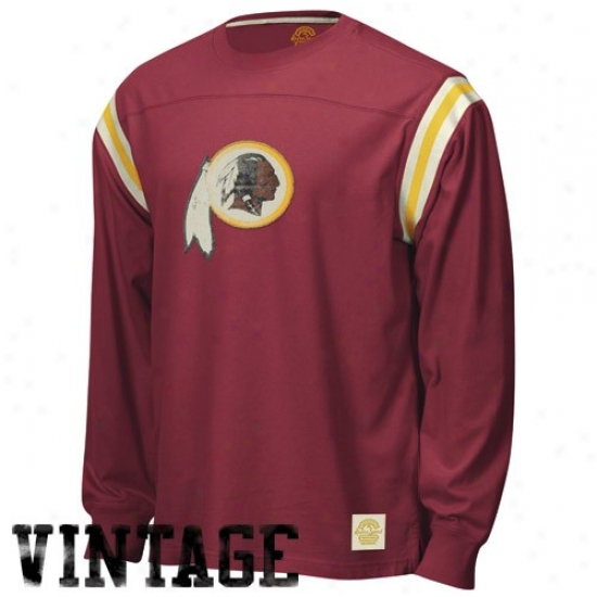 Washington Redskin Shirt : Reebok Washington Redskin Burgundy Whitewashed Logo Premium Log Sleeve Vintage Shirt