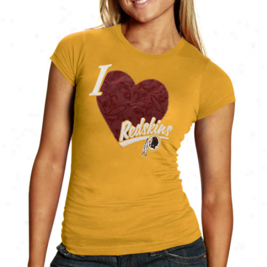 Washington Redskin Shirts : Reebok Washington Redskin Ladies Gold I Love This Team V-neck Tri-blend Shirts