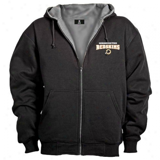 Washington Redskin Sweatshirt : Washongton Redskin Black Craftsman Workman's Full Zi Sweatshirt
