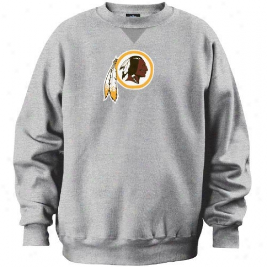 Washington Redskin Sweatshirts : Washington Redskin Ash Classic Crew Sweatshirts