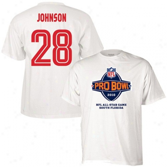 Washington Redskin T Shirt : Reebok 2010 Pro Bowl White #28 Chris Johnson Player T Shirt