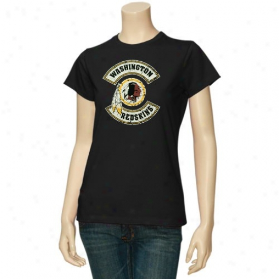 Washington Redskin T-shirt : Washington Redskin Ladies Black Basic Round Logo Vintage T-shirt