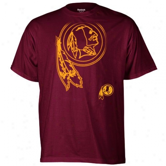 Washington Redskin Tee : Reebok Washington Redskin Bufgundy Huge Logo Tee