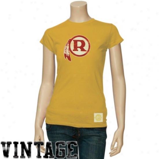 Washignton Redskin Tees : Reebok Washington Redskin Ladies Gold Better Logo Vintage Annual rate  Tees