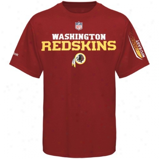 Washington Redskin Tees : Reebok Washington Redskin Youtth Burgundy Prime Tees