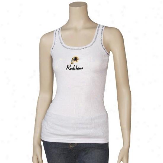 Washington Redskin Tshirt : Reebok Washington Redskin Ladies White Malibu Tank Top