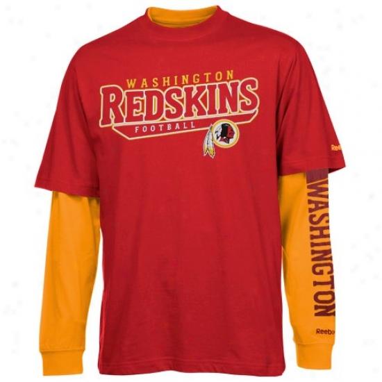 Washington Redskin Tshirt : Reebok Washington Redskin Red-gold Choice 3-in-1 Tshirt Combo Pack