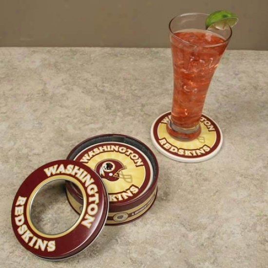 Washington Redskins 4-pack Coasters With Tin