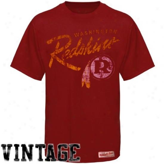 Washington Redskins Apparel: Mitchell & Ness Washington Redskins Burgundy Vintage Premium T-shirt