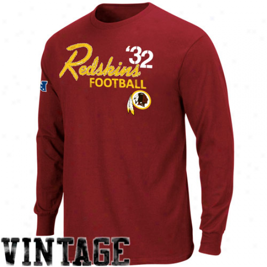 Washington Redskins Attire: Washington Redskins Burgundy Angle Blitz Sueded Long Sleeve Premium T-shirt