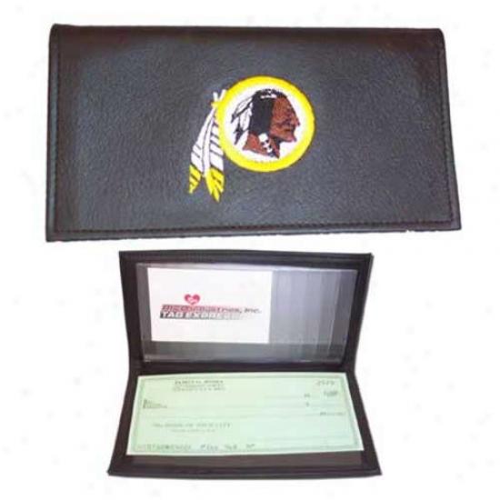 Washington Redskins Black Embroidered Leather Checkbook Cover