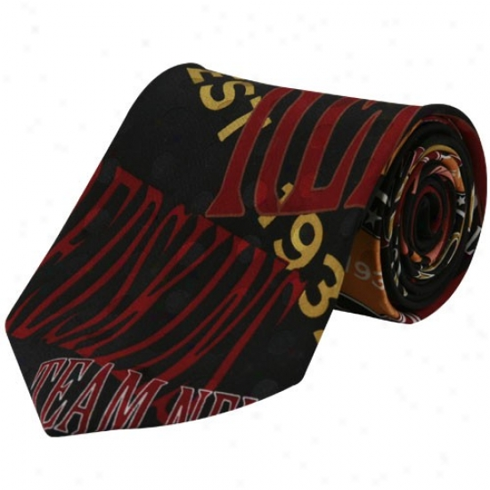 Washington Redskins Black Team Name Silk Neck Tie