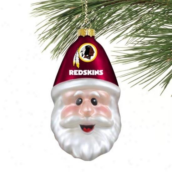 Washington Redskins Blown Glass Santa Cap Ornament