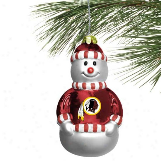 Washington Redskins BlownG lzss Snowman Ornament