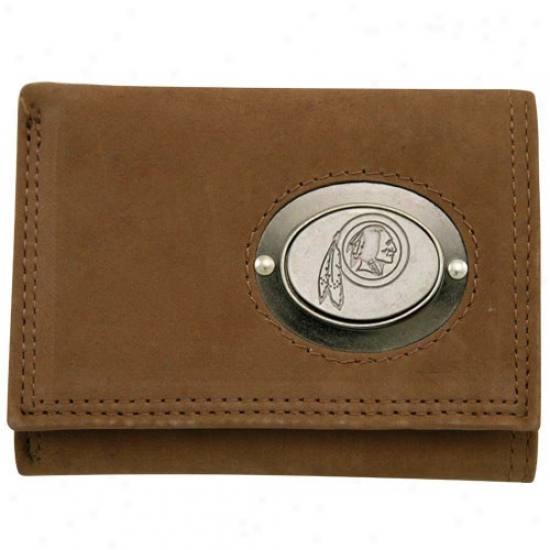 Washington Redskins Brown Leather Metal Emblem Tri-fold Bag
