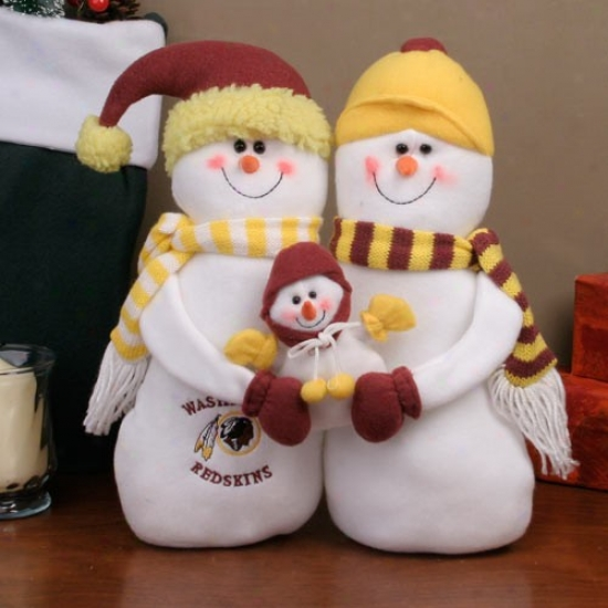 Washington Redskins Decorative Flat Top Snowman Family Figurine