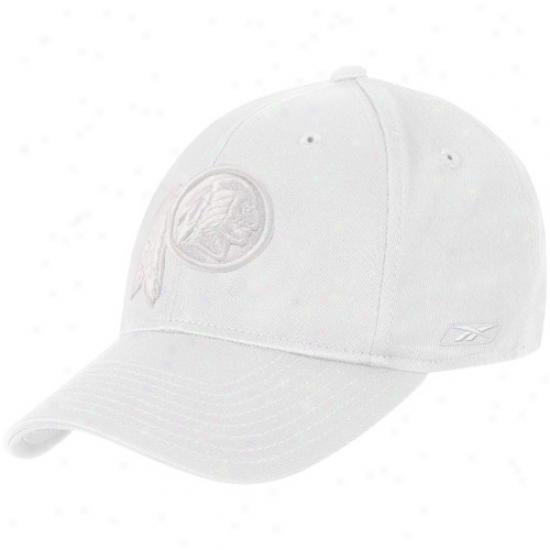 Washington Redskins Gear: Reebok Washington Redskins White Tonal Logo Flex Fit Hat