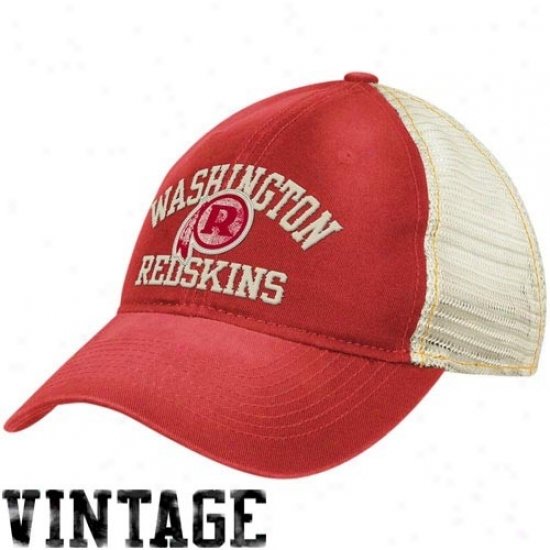Washington Redskins Gear: Reebok Washington Redsmins Ladi3s Burgundy-natural Slouch Mesh Back Adjustable Hat