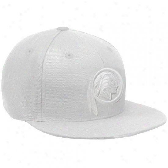 Washington Redskins Hat : Reebok Washington Redskins White Classic Logo Fitted Flat Bill Hat