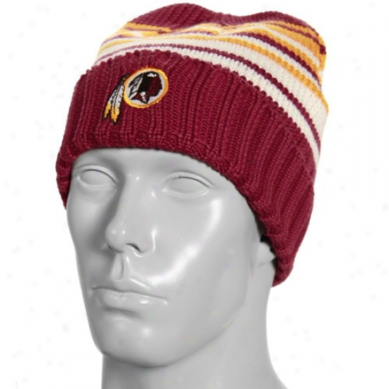 Washington Redskins Hat : Reebok Washington Redskins Burgundy Pruning Sweater Knit Beanie