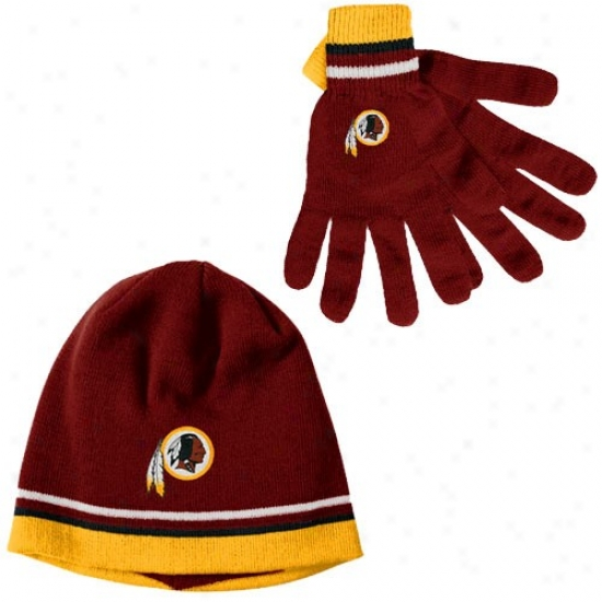 Washington Redskins Hats : Reevok Washigton Redskins Burgundy Gloves & Beanie Gift Set