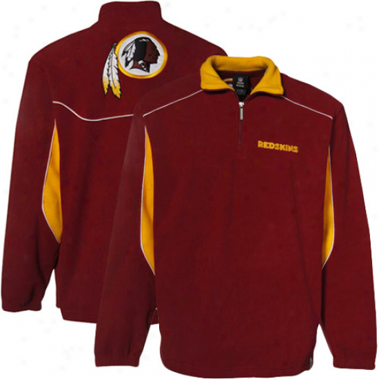 Washington Redskins Hoodie : Reebok Washington Redskins Burgandy Final Score 1/4 Zip Pullover Hoodie Jacket