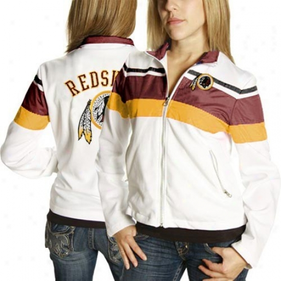 Wsshingtoh Redskins Jacckets : Washinhton Redskins Ladies White Overlay Full Zip Jackets