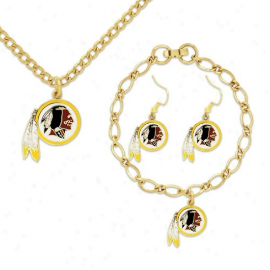 Washington Redskins Ladies Gold-tone Jewelry Gift Set