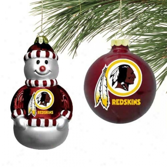Washinhton Redskins Mini Stale Glass Ornament Set